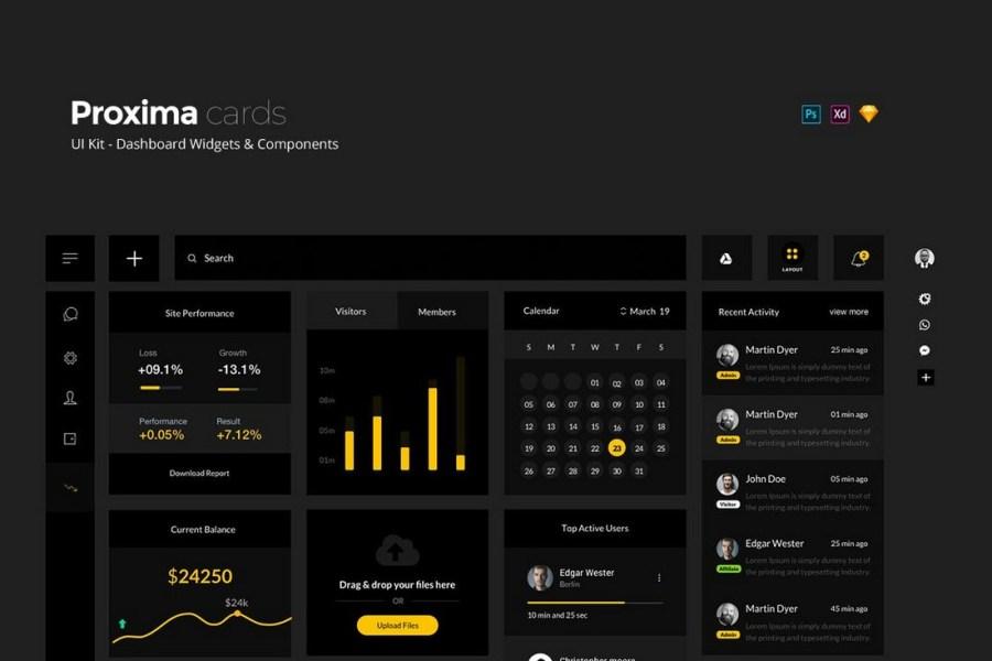 Proxima UI Kit - Dark Dashboard Widgets Kit