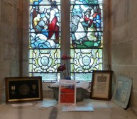 Memorial window and display. Photo by John Parkinson
