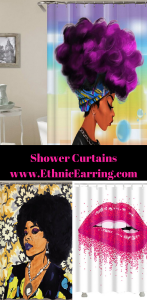 natural hair shower curtains home decor afro centric apartment decoration