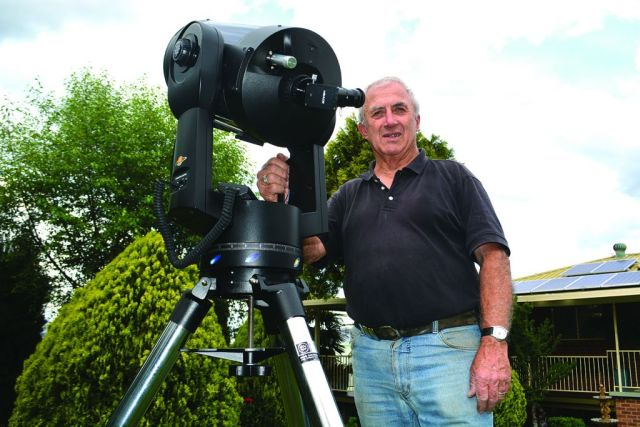 "Tumut astronomy buff Phil Bennett and his telescope are ready for the ""supermoon"" which will appear in our skies early on Tuesday morning."