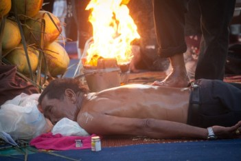 A Thai fire massage demonstration during the Ko Phangan Colourmoon Festival 2017