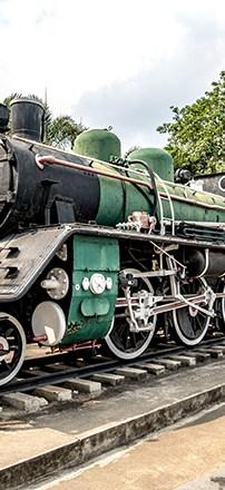 Old locomotive display at River Kwai Bridge railway station, Kanchanaburi