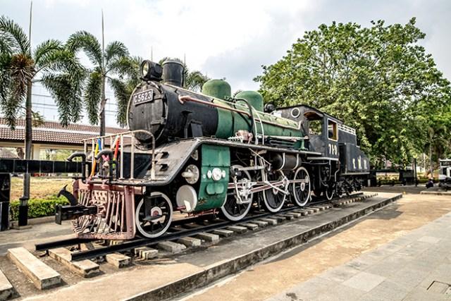 Old locomotive display at River Kwai Bridge railway station