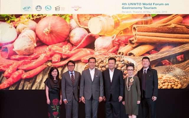 From left Ms. Jarumon Vanichsuvan, Director of Institute for Agricultural Product Innovation, Department of Foreign Trade, Ministry of Commerce. Mr. Tanes Petsuwan, TAT Deputy Governor for Marketing Communications. H.E. Mr. Weerasak Kowsurat, Thailand's Minister of Tourism and Sports. Mr. Yuthasak Supasorn, TAT Governor. Mrs. Srisuda Wananpinyosak, TAT Deputy Governor for International Marketing – Europe, Africa, Middle East and Americas and Mr. Santi Chudintra, TAT Deputy Governor for International Marketing (Asia and South Pacific)