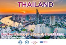 More COVID-19 restrictions are relaxed in Thailand from 16 October 2021