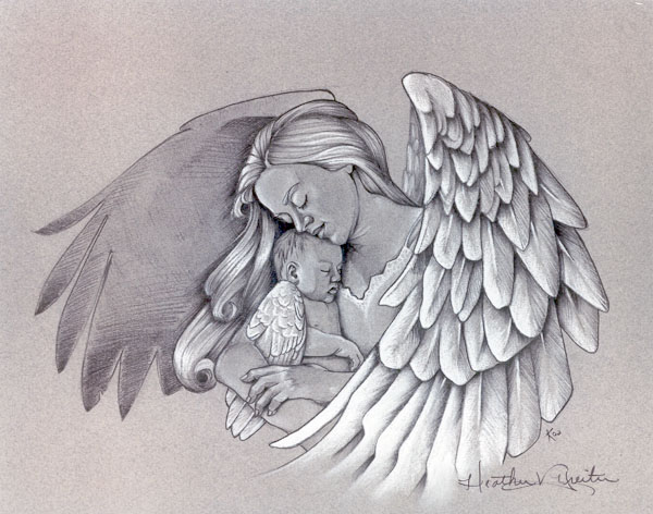 Angel Holding Baby Tattoo Design