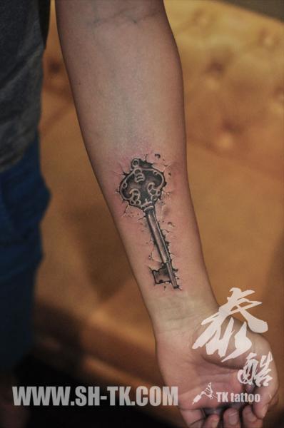 Arm Key 3d Tattoo by SH TH