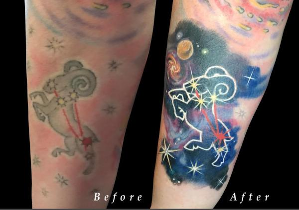 Aries Zodiac Space Constellation Color Rework on Forearm ...