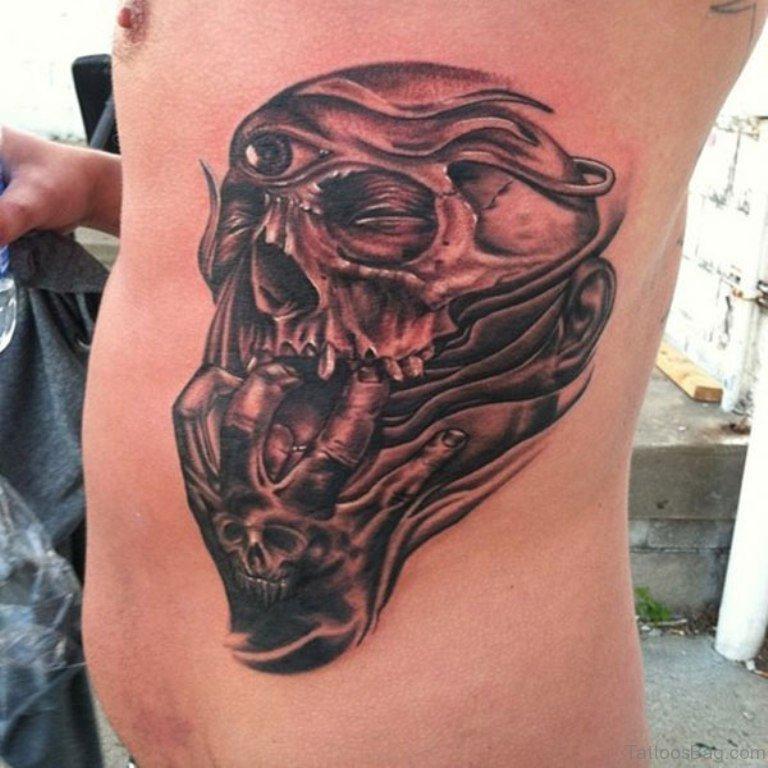And Skull Punisher Black Red Tattoo