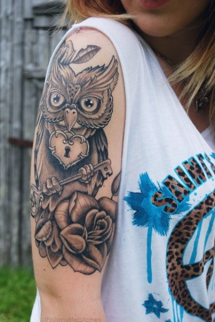 An owl may look very cute in a girl's half sleeve tattoo