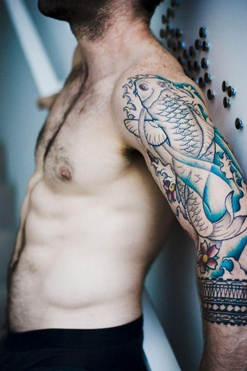 A half sleeve tattoo with a carp may be aimed at attracting good luck