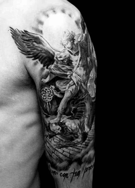 An admirable forearm angel tattoo with a complicated sketch