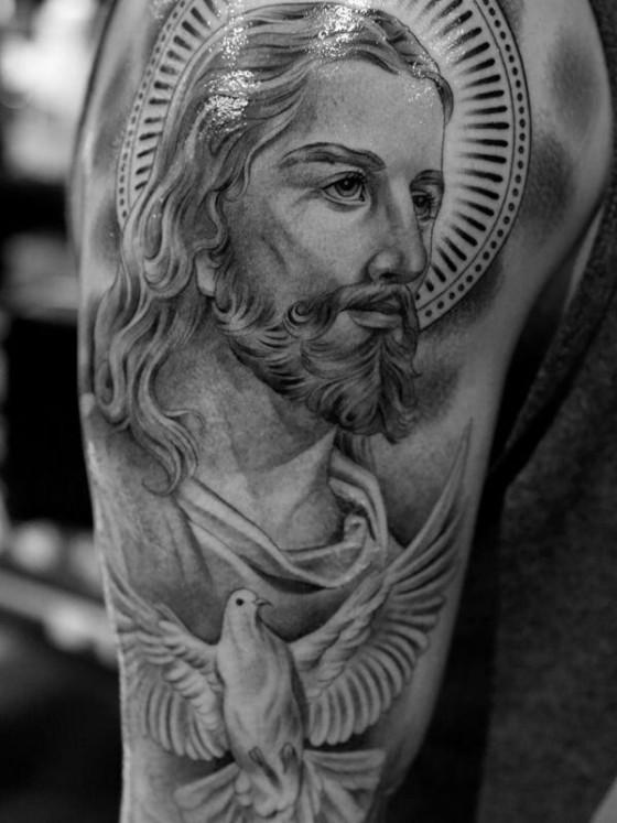 Jesus Tatoos : jesus, tatoos, Black, Jesus, Tattoos【, 】Faith,, Love,, Sacrifices, Strength