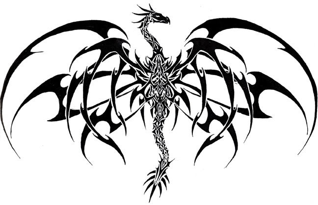 Dragon Skull Tribal Drawing Cool