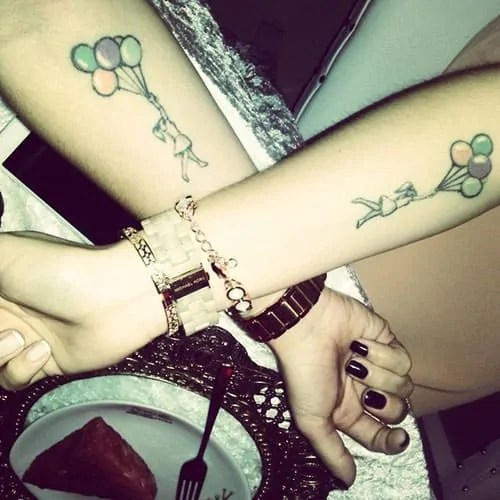 baloons cute sister tattoo