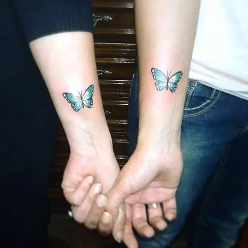 twin sisters butterfly tattoo design