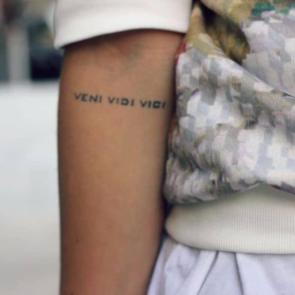 cute veni vidi vici tattoo for girls