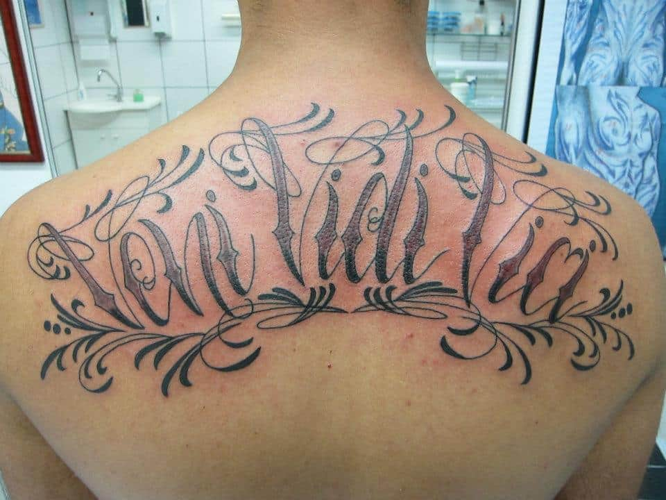 Wording of veni vidi vici back tattoo design