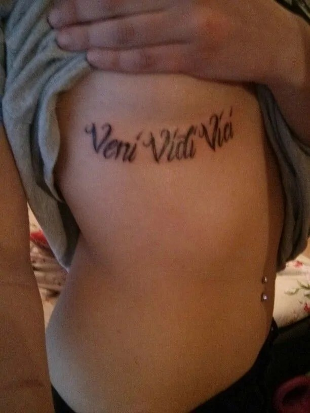 veni vidi vici boob tattoo inspiration for girl