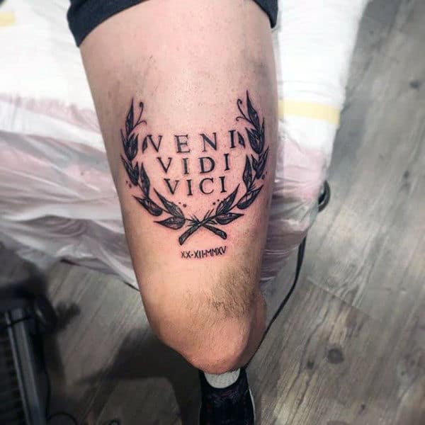 Special veni vidi vici modern tattoo for male