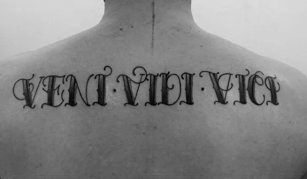 Cool veni vidi vici old school sailor jerry tattoo on back