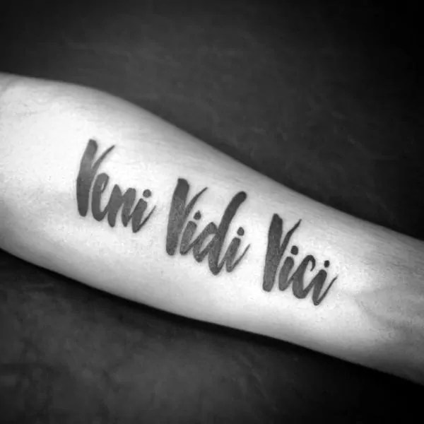 veni vidi vici paint brush stroke inner forearm tatoo