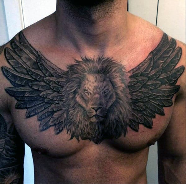 Wings and Lion Face Tattoo for Men