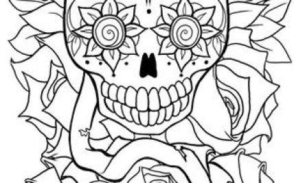 Sugar Skull Outline Designs Flowers Gardening Flower And Vegetables