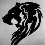 Black Tribal Lion Head Tattoo