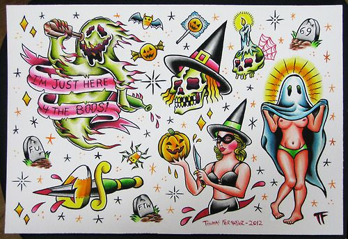 It's time to show them off! Wonderful Colored Halloween Tattoos Designs