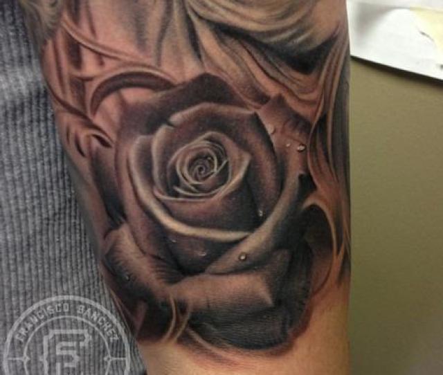 Realistic Rose Tattoo On Arm