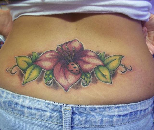 Bud On Lower Lower Back Tattoo Design