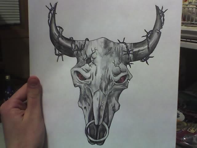 Texas Longhorn Cow Skull Tattoo