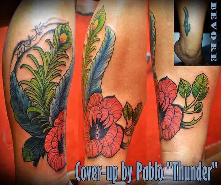 Tattoo Blumen Bein Tattoo Cover up
