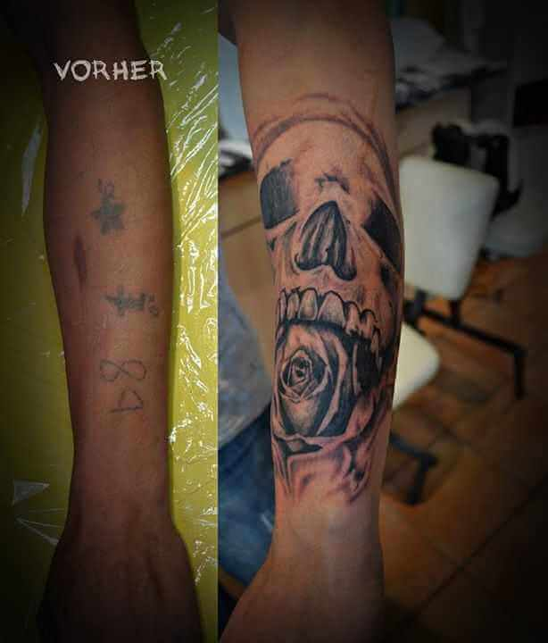 Tattoo Cover up Tattoo Totenkopf mit Rose