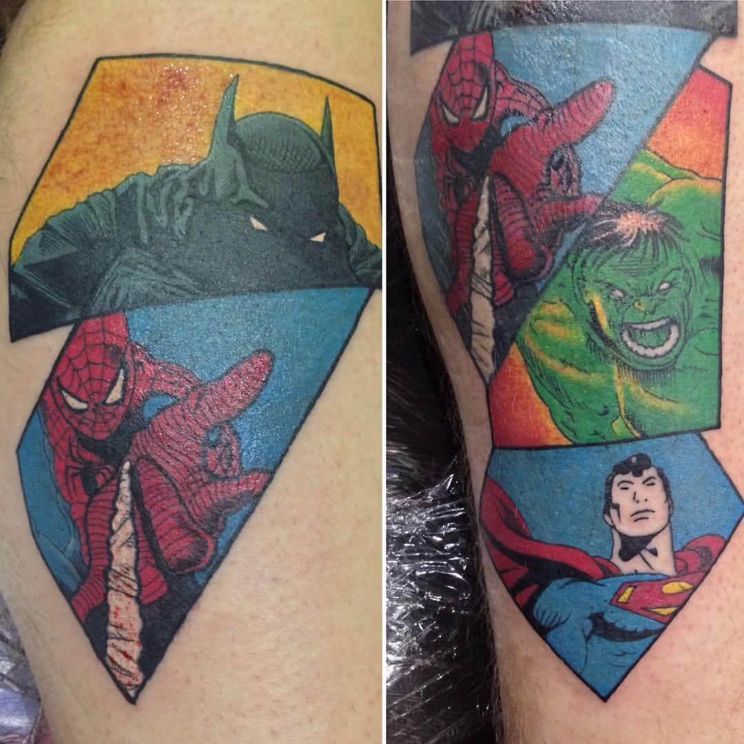 Tattoo Comic Helden – Panther, Spider Man, Hulk und Super Man