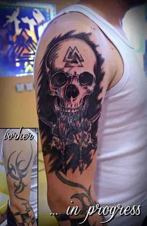 Tattoo Tattoo Cover up Arm Totenkopf