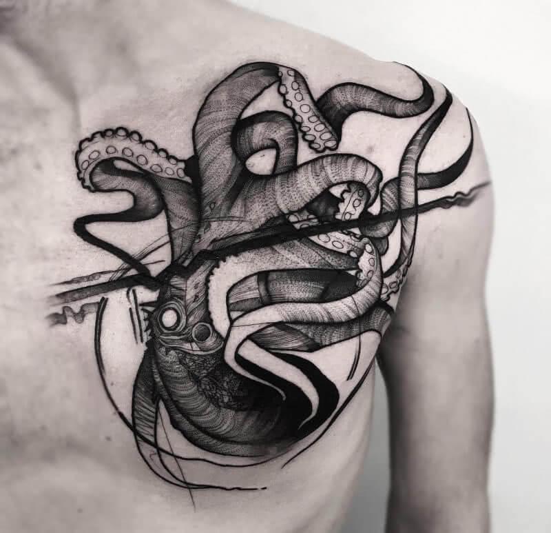 Tattoo Octopus Brust