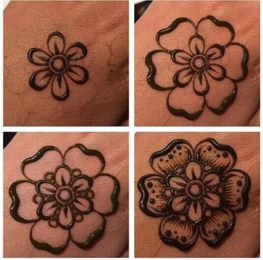 Tattoo Prozess eines Henna Tattoos – Muster Blume