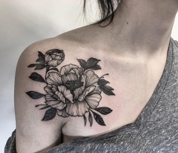 Tattoo schwarz weiße Blume