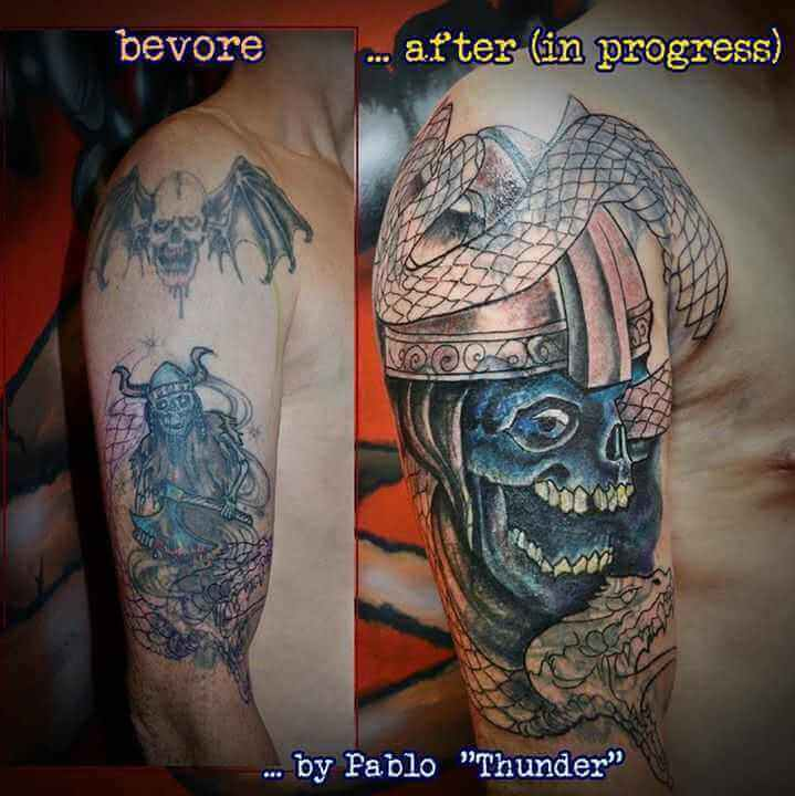 Tattoo Skelettkrieger Cover Up