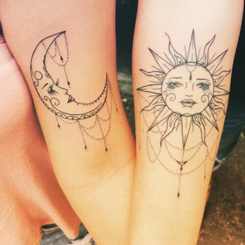 Tattoo Sonne und Mond Freundschaftstattoo