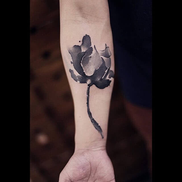 Tattoo Watercolor Black and White Flower