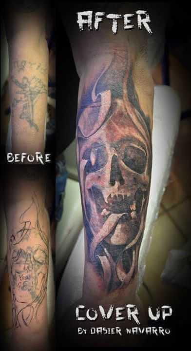 Tattoo Totenkopf Cover up Tattoo
