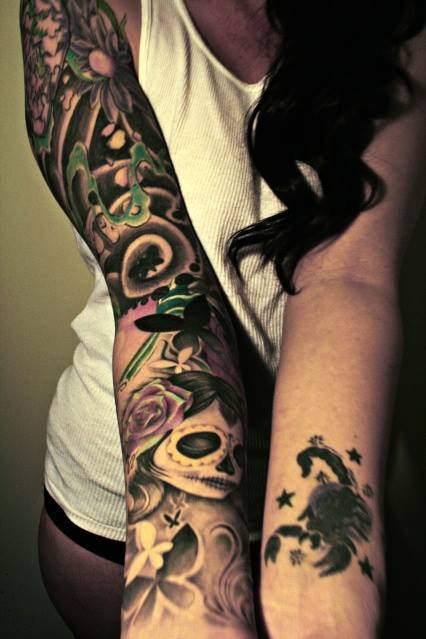Santa Muerte Manga Completa Y Escorpi 243 N Tatuajes Para Mujeres