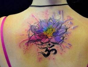 Flor de Loto con el Signo Om en Acuarelas