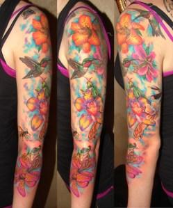 Manga Completa de flores y colibríes