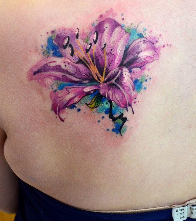 Flor En Acuarelas By Javi Wolf Tatuajes Para Mujeres