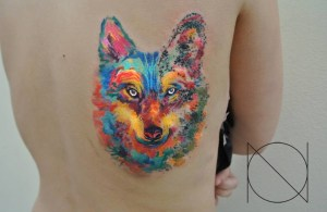 Lobo en Acuarelas by Ondrash tattoo