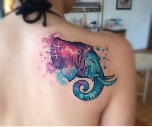 Elefante estilo Acuarelas by Koray Karagözler
